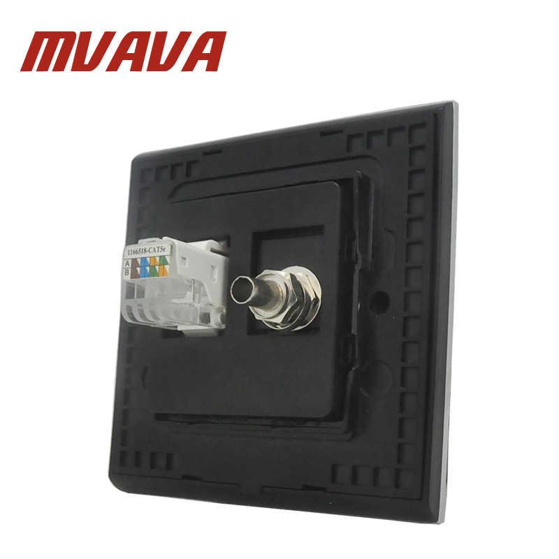 Mvavaテレビ+ pcソケット高級110-250ボルト起毛金属英国eu標準テレビとデータrj45 lanケーブルジャック壁ソケット