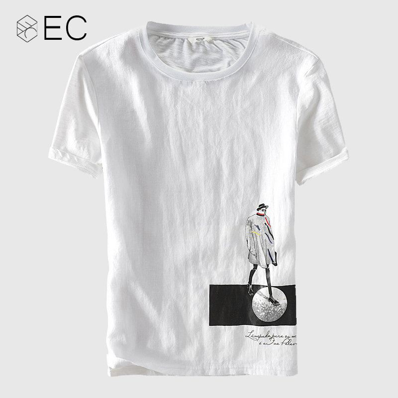 EC2018 Cotton Linen Stitching Short Sleeve T-shirt Round neck Men's White T-Shirt Fashion Casual Tshirts Brand Clothing T033