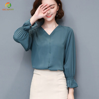 Spring Autumn Women Tops Long Sleeve OL Chiffon Blouse Female V Neck Work Wear Solid Color