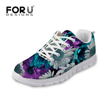 Casual Floral Style Women Shoes Lace-up Outdoor Walking Sport Trainers Comfortable Platform Female Flats Shoes Zapatos
