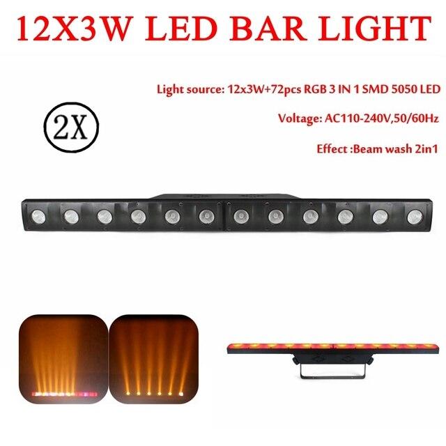 2 unids/lote 12x3 W RGB 3IN1 Led etapa dj luz led dmx512 equipos de dj para fiesta mostrar etapa luces de discoteca