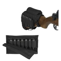 Tactical Rifle Shotgun Buttstock Cartridge Hunting Holsters Bag Stock Cheek Rest With Ammo Carrier Case Arms