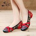 Nueva Moda de Las Mujeres del Estilo Chino Retro Zapatos de Mary Jane Pisos Verano Bordados Ocasionales de los hombres Zapatos de Tela de Flores Para la Mujer ¡ Venta Caliente