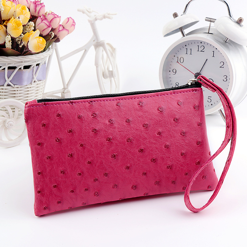 Fashion Portable candy colors ladies Coin Storage Case Travel Makeup bag ostrich PU Leather Cosmetic Bags women handbag portable cartoon cat coin storage case travel makeup flannel pouch cosmetic bag bs88