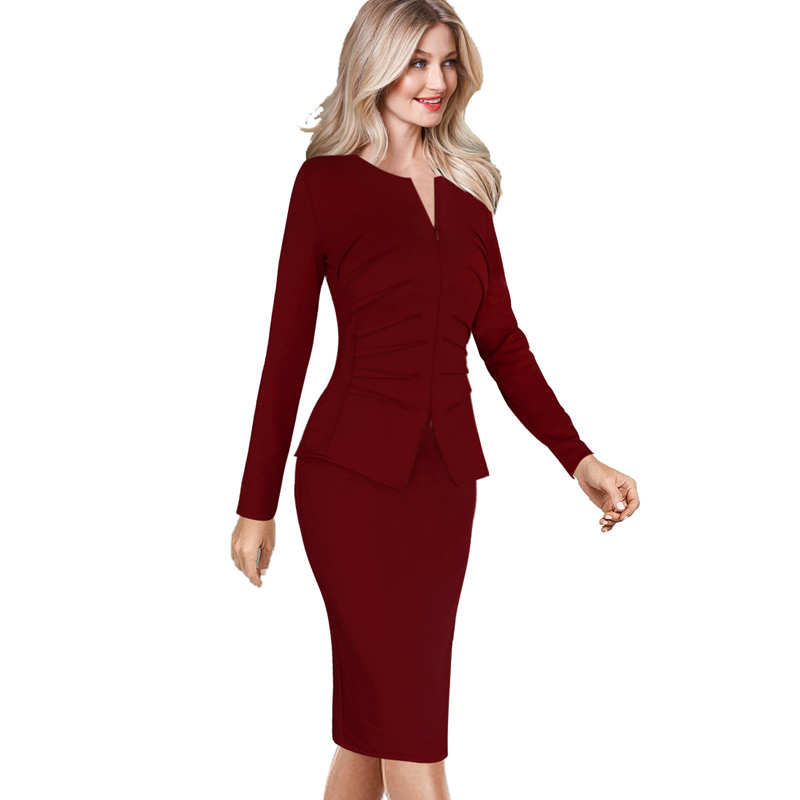 vfemage women winter elegant front zip up pleated ruched