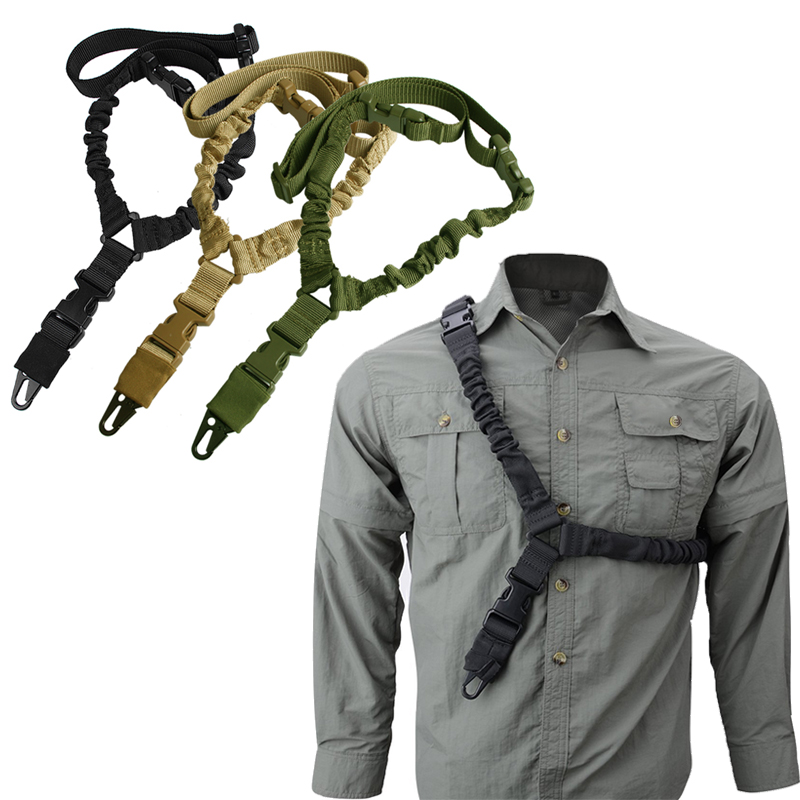 1000D-Heavy-Duty-Tactical-One-1-Single-Point-Sling-Adjustable-Bungee-Rifle-Gun-Sling-Strap-for-Airsoft-Hunting-Military RL30-1  (1)