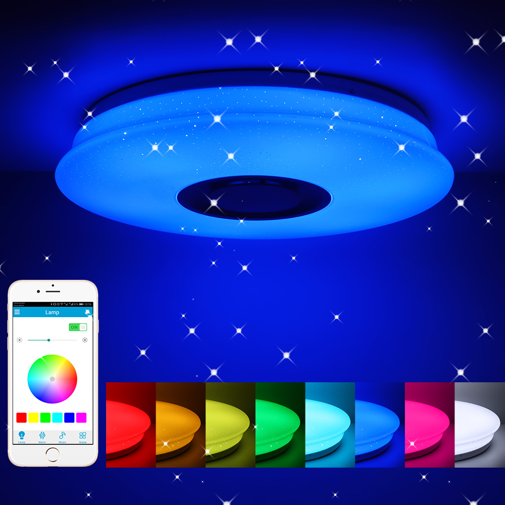 Smart Music LED Ceiling Lights RGB Dimmable APP Remote Control Modern Bluetooth ceiling+lights Bedroom Lamps 3светильник пот