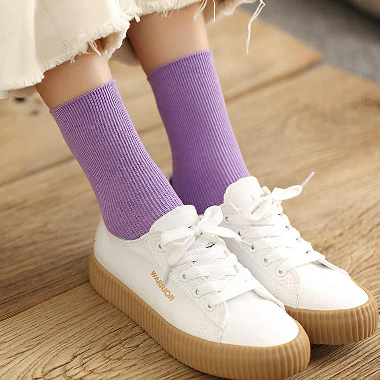 Nieuwe Kleur Harajuku Retro Vrouwen Lady Katoen Losse Sokken Winter In Buis Koreaanse Paars Blauw Geel Roze Designer Kerst Leuke