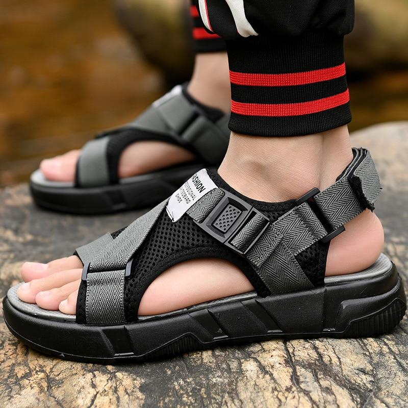 AKEXIYA Men 39 s Sandals 2019 Gladiator Men 39 s Sandals New Roman Men 39 s Shoes Summer Gray Black Fashion Flat Sandals in Men 39 s Sandals from Shoes