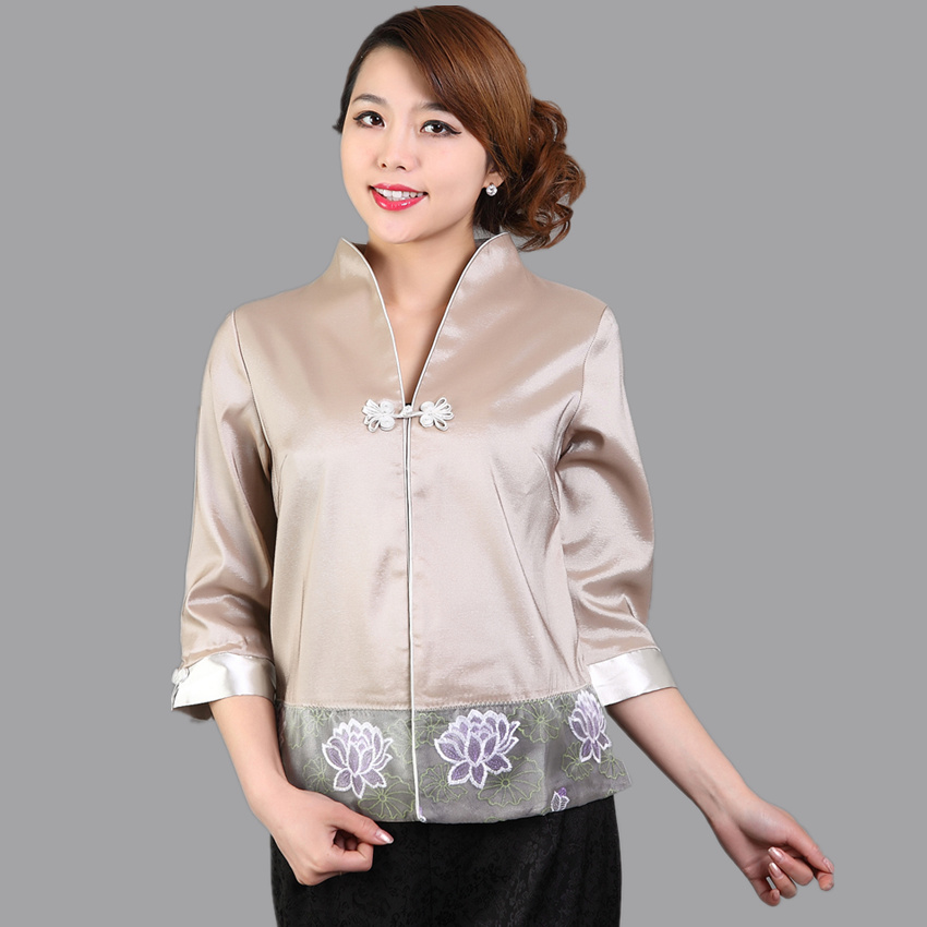 New Arrival Gray Women Satin Shirt Chinese Novelty Embroidery Blouse Summer Flower Tang Suit Tops Clothing S M L XL XXL WS041