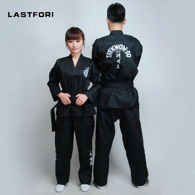 Совершенно новая черная полная стандартная одежда для тхэквондо, открытая передняя одежда для тхэквондо, черный пояс, униформа для каратэ