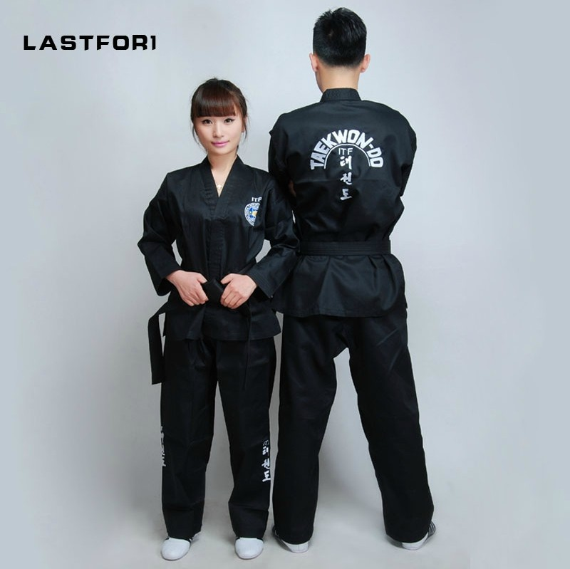Brand New Black full embroidery uniforms ITF tae kwon do clothes ITF taekwondo open front dobok Black Belt karate uniforms black mooto taekwondo uniform dobok wtf tkd clothes mooto dobok tae kwon do uniform belt dobok taekwondo coach mooto clothes