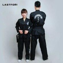 Brand Nieuwe Zwarte volledige borduurwerk uniformen ITF tae kwon kleren ITF taekwondo open voorzijde dobok Zwarte Riem karate uniformen