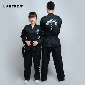 Image 1 - Marka Yeni Siyah tam nakış üniforma ITF tae kwon giysi ITF taekwondo açık ön dobok Siyah Kuşak karate formaları
