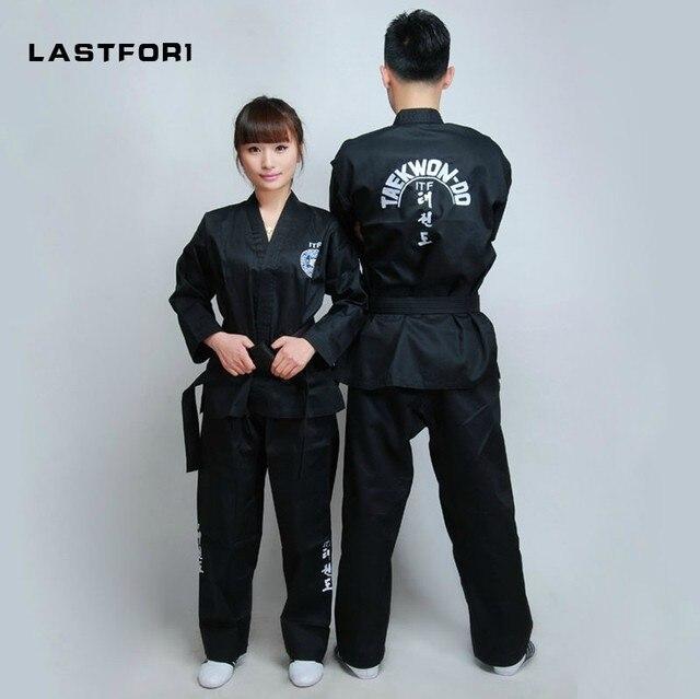 Marka Yeni Siyah tam nakış üniforma ITF tae kwon giysi ITF taekwondo açık ön dobok Siyah Kuşak karate formaları