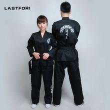 Zupełnie nowe czarne pełne hafty mundury ITF tae kwon do ubrania ITF taekwondo otwórz przedni dobok czarny pas stroje do karate