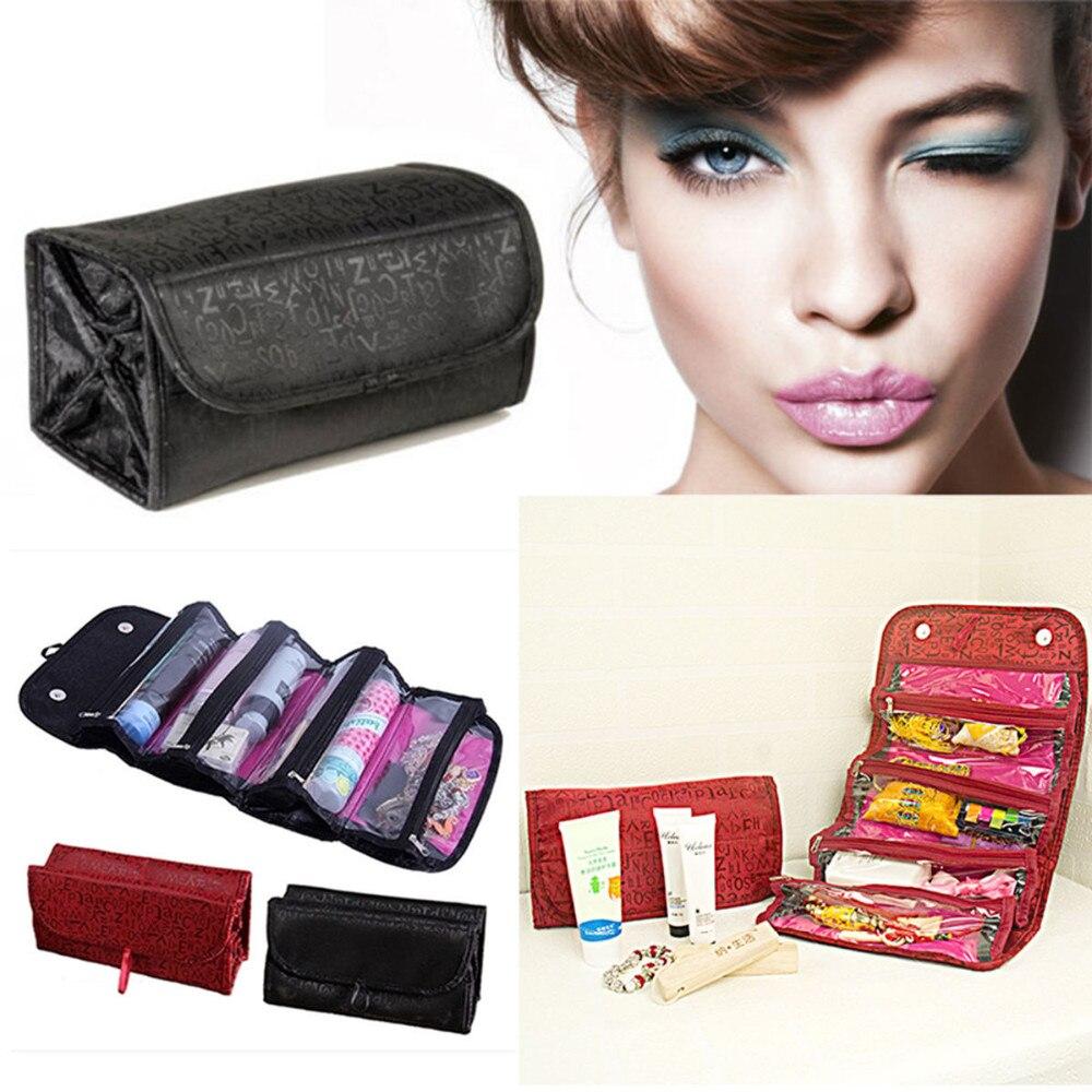 10pcs Hot TV Roll N Go Cosmetic Bag Large Capacity Multifunctional Storage Bag Roll Up Travel Organiser Toiletries Makeup Bag