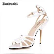 146dc19eb Batzuzhi Mulheres Sapatos Da Moda Sexy 10.7 cm Saltos Ferro Estilo Italiano  Branco/Preto Mulheres