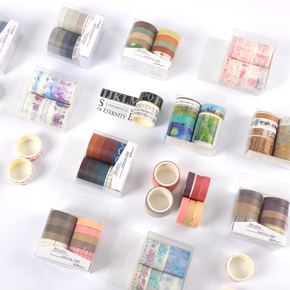 7pcs Or 10pcs/set Cute Series Decor Washi Tape Scrapbook DIY Clear Basic Masking Tape School Stationery Store Bullet Journal