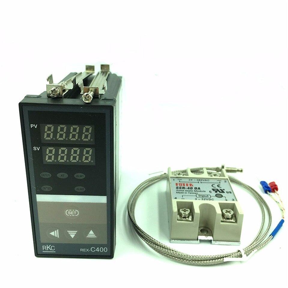 Цифровой РКЦ PID Температура контроллер термостат REX C400 (ССР Выход) + K Тип термопары + Max 40A ССР реле Бесплатная доставка
