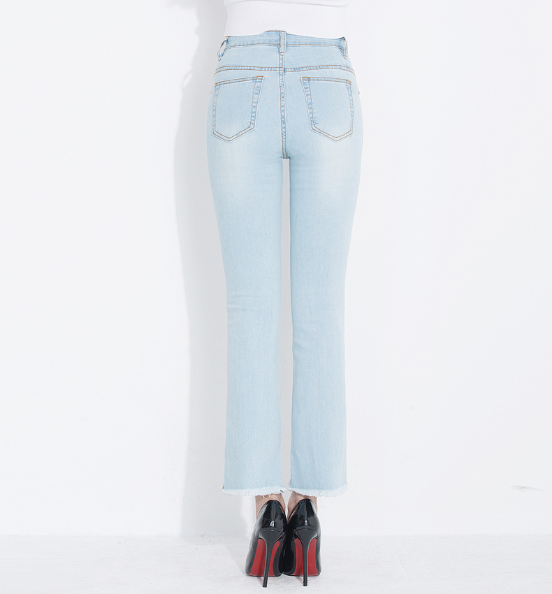 KSTUN Fashion 2018 Jeans for Women High Waist Boot Cut Light Blue Flared Embroidery Elastic Vintage Denim Pants Mujer Plus Size 18