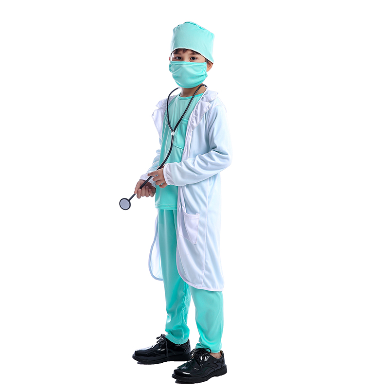 Hospital Doctor Kids Surgeon Dr Uniform Boys Child Career Halloween Cosplay Costume