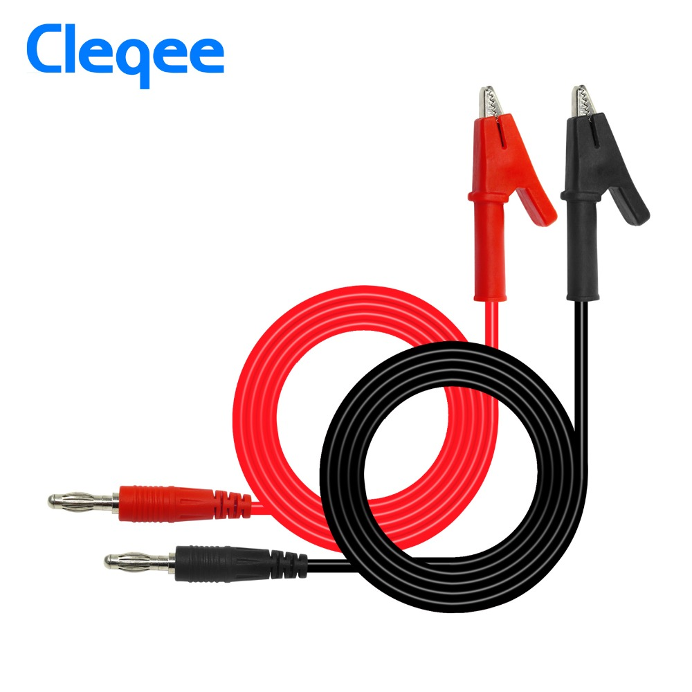 Cleqee P1040 1Set 1M 4mm Banana Plug To Crocodile Alligator Clip Test Probe Lead Wire Cable Test Leads Kits