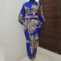 African Dresses For Women 2019 New African Elastic Bazin Baggy Pants Rock Style Dashiki Sleeve Dress For Lady Africa Clothing