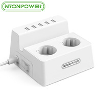 NTONPOWER EU Plug Power Socket 2 AC Outlets Extension with 5 USB Charger Surge Protector 1.5M
