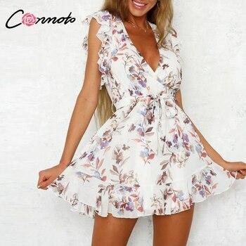 61345406df2b204 Conmoto Винтаж белый Цветочный принт короткое платье; Для женщин 2019  летнее элегантное платье с v-образным вырезом вечерние платье сексуальная д.