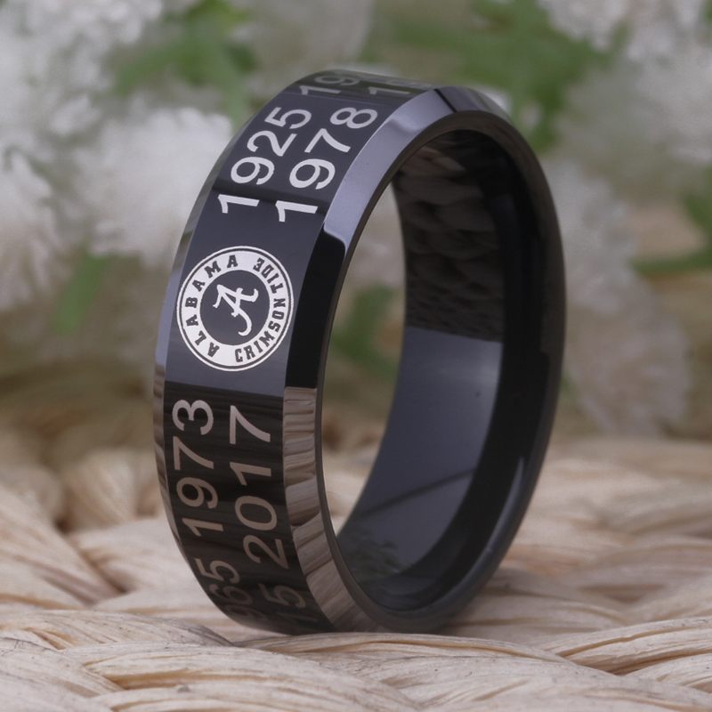 Free Shipping Customs Engraving Ring Hot Sales 8MM Black With Shiny Edges Crimson Tide C ...