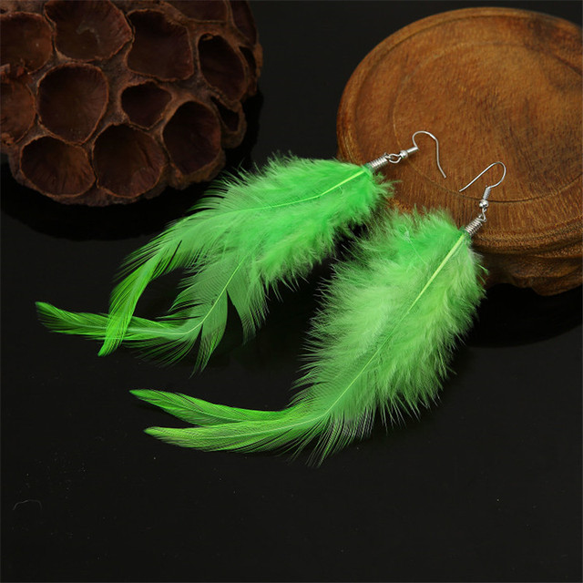 Six Colors Real Feather Earrings