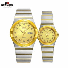 Luxury Brand Watch GUANQIN Gold Couple Watches Men Automatic Mechanical Watch Women Quartz Lover Watches Waterproof Wristwatches