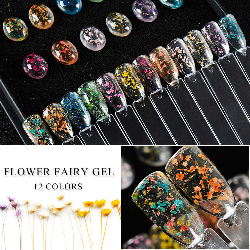MEET ACROSS Flowers Nail Gel Polish Natural Dried Flower Fairies Series Soak Off UV Gel DIY Nail Art Nails Decoration Painting