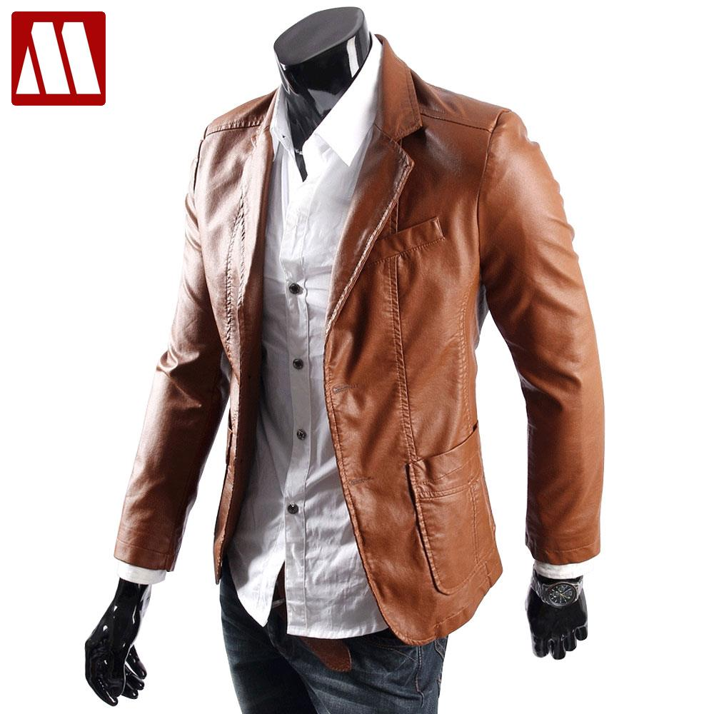 Popular Brown Leather Suit Jacket-Buy Cheap Brown Leather Suit ...