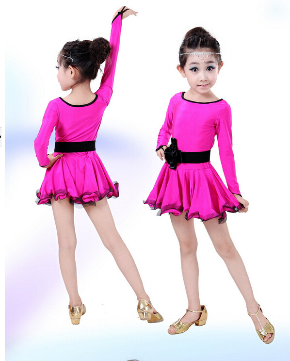 Free shipping  rumba latin dance dress  tango samba 110-160cm black rosy blue kid girl  professional girl child dress costume
