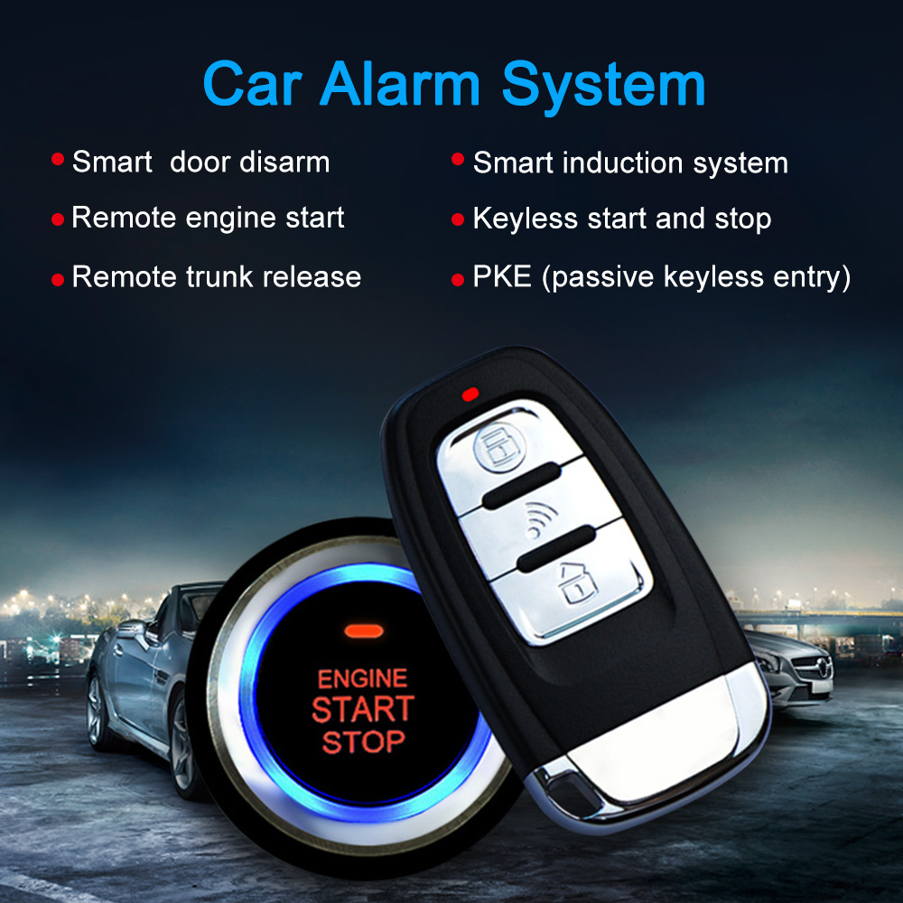 Universal auto car alarm remote engine start stop button open close key fob x2 pke antenna x2 wire hareness x2 push start button x1 led siren x1 shock sensor x1 english user manual and wire diagram x1 asfbconference2016 Image collections