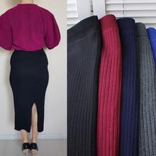 ELEXS Women Winter Long Woolen Skirt Elastic Waist Pencil Skirt Woman Office Skirt Jupe Vintage Femme