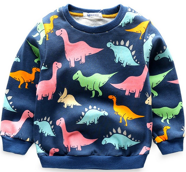2017 Autumn Kids hoodies sweatshirts cotton Cartoon Print Jurassic World dinosaur boys girls Sweater coat tops baby clothes tees