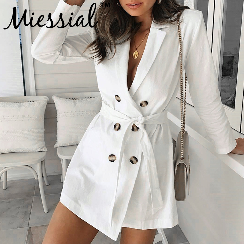 Miessial Sexy long sleeve white female coat Women deep v neck elegant party daily long   trench   Autumn fashion casual outwear new