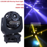 Factory Price ADJ 12X10W RGBW 4IN1 Football LED Moving Head Light High Power 300W LED Moving Head Beam Light For Dj Nightclubs