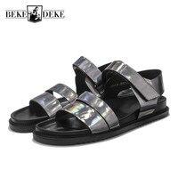 Summer Fashion Slides Mens Genuine Leather Open toed Hook & Loop Gladiator sandals men Sandals Outdoor Breathable Male Footwear