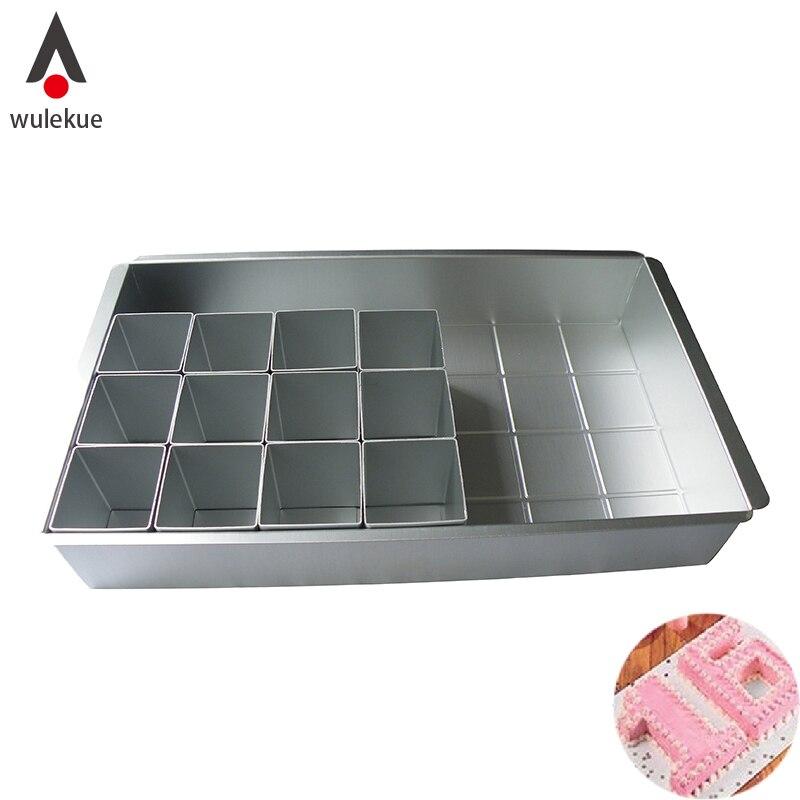 Wulekue 1Set Aluminum DIY Cake Mold Alphabet Number Baking Pan For Chiffon Dessert Mousse