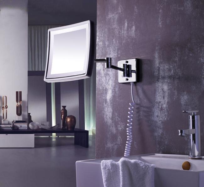 spedizione gratuita moderno bagno prodotti in ottone massiccio cromato rifinito in parete led specchio cosmetico