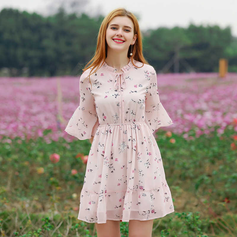 84e051a43e 2019 Spring Sweet Women Dress Soft Ladies Outerwear Flare Sleeve Elegant  Slim Waist Female Summer Chiffon