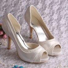 Wedopusออกแบบใหม่ที่กำหนดเองรองเท้าสำหรับผู้หญิงแต่งงานแพลตฟอร์มพรรคชุดไอวอรี่รองเท้าส้นสูง
