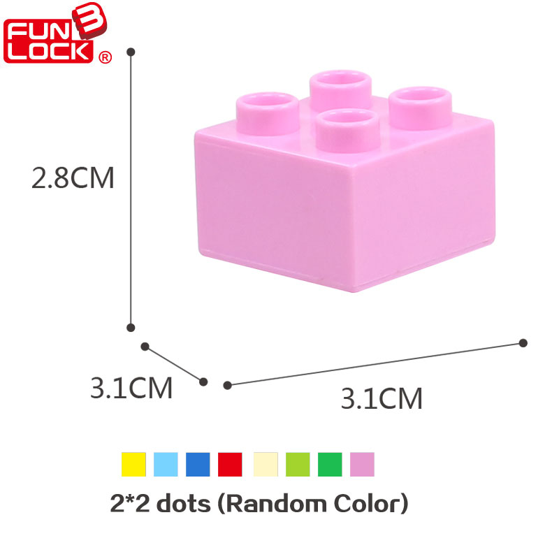 Funlock Duplo Building Blocks Construction Toys Assembly Parts for Kids 24pcs 2x2 Dots Basic Bricks for Children 32 32 dots plastic bricks the island straight crossroad curve green meadow road plate building blocks parts bricks toys diy