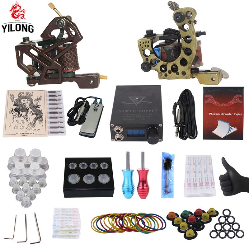 YILONG Professional Complete Tattoo Kit 2 Top Machine Gun 50 mix ink cup 10 Needle Power Supply 3000246-12YILONG Professional Complete Tattoo Kit 2 Top Machine Gun 50 mix ink cup 10 Needle Power Supply 3000246-12
