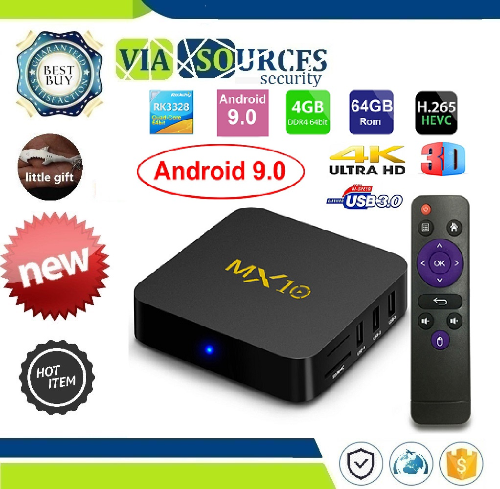 Rom IPTV Smart Set-top Box 4K USB 3.0 HDR H.265 Media Player Box MX10 Smart TV BOX Android 9.0 Rockchip RK3328 DDR4 4GB Ram 64GBRom IPTV Smart Set-top Box 4K USB 3.0 HDR H.265 Media Player Box MX10 Smart TV BOX Android 9.0 Rockchip RK3328 DDR4 4GB Ram 64GB