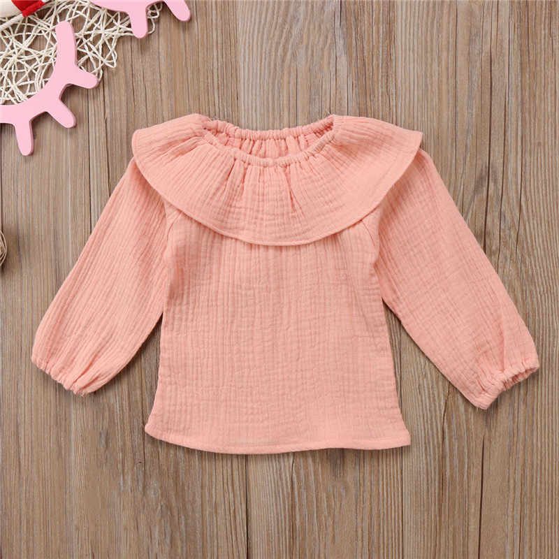 938e2761f ... New Chic Children Girls Ruffles Neck Summer Tops T-shirt Cotton Soft Long  Sleeve Fashion ...